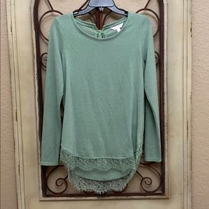Long Sleeve Lace Trim Blouse